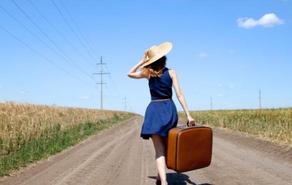 girl travel road